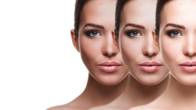 Face three colours light to dark showing spray tan effect